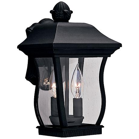 """Chelsea 13""""H 2-Light Clear Glass Black Outdoor Wall Light"""
