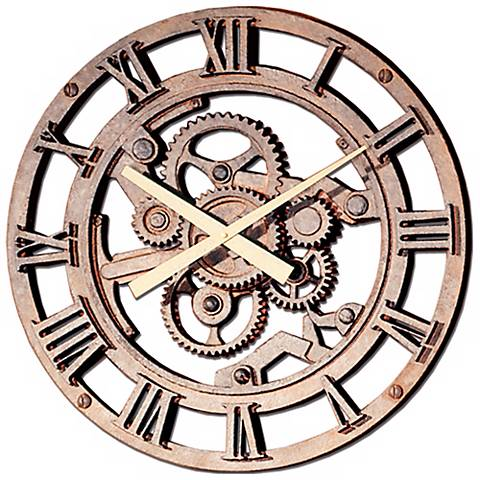 "Gears of Time 22"" Wide Roman Numerals Wall Clock"