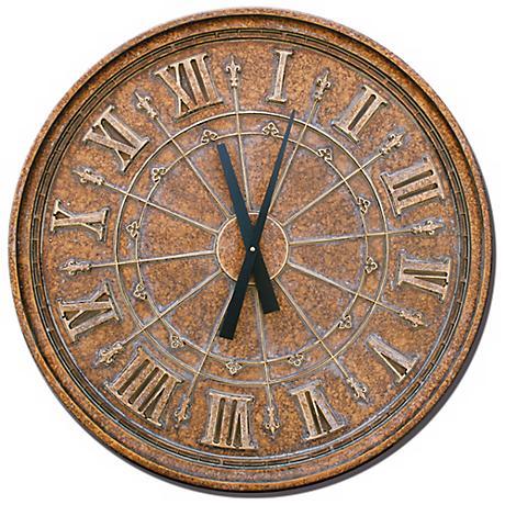 "Fleur de Lis 27"" Wide Round Wall Clock"