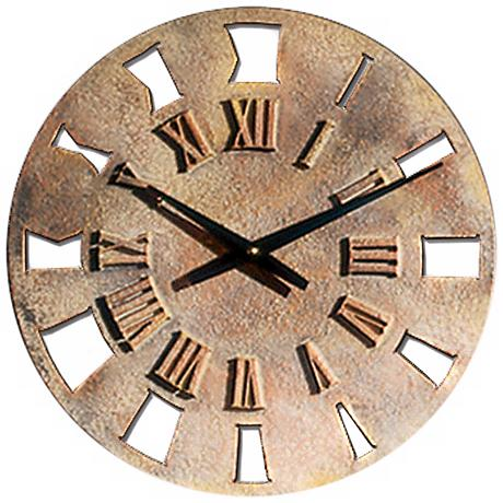 """Roman Numerals 14"""" Wide Battery Powered Wall Clock"""