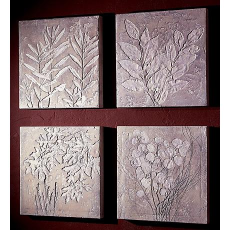 Set of 4 Small Square Botanicals Wall Art Plaques
