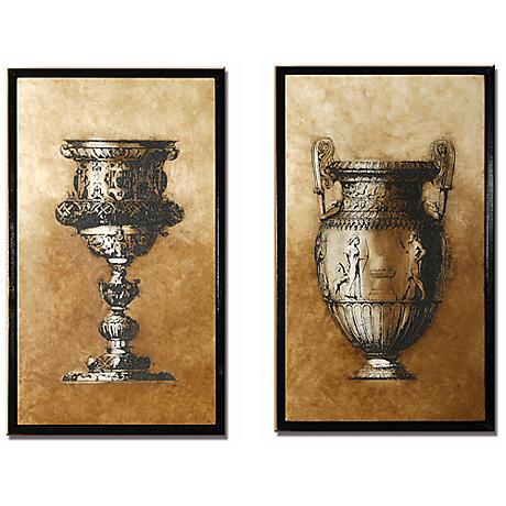 Wall Decor Lamps Plus : Set of 2 Sienna Framed Goblet and Urn Wall Art Pieces - #M0440 Lamps Plus