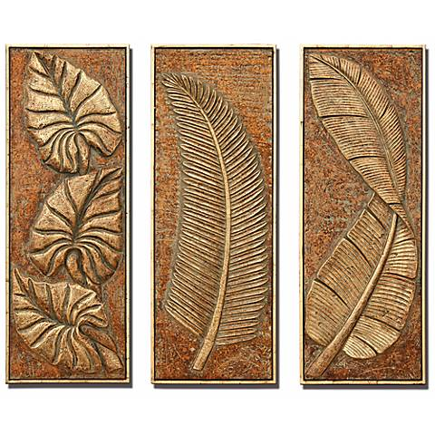 Tropical Ferns Set of 3 Decorative Wall Art Panels
