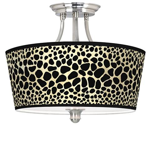 Leopard Tapered Drum Giclee Ceiling Light