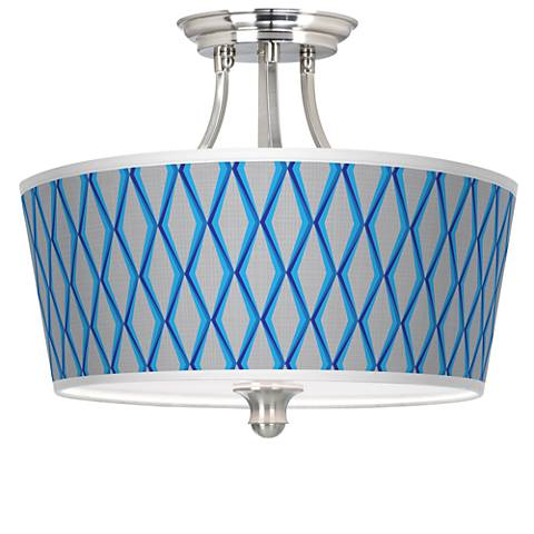 Bleu Matrix Tapered Drum Giclee Ceiling Light