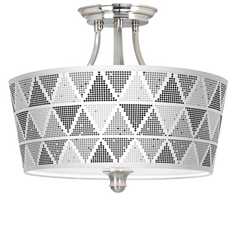 Pointillism Tapered Drum Giclee Ceiling Light