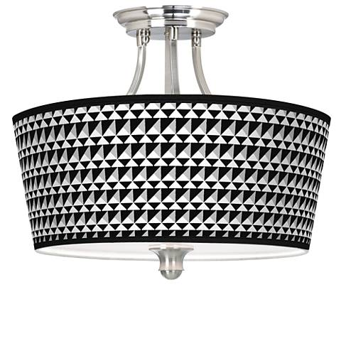 Triangle Illusion Tapered Drum Giclee Ceiling Light