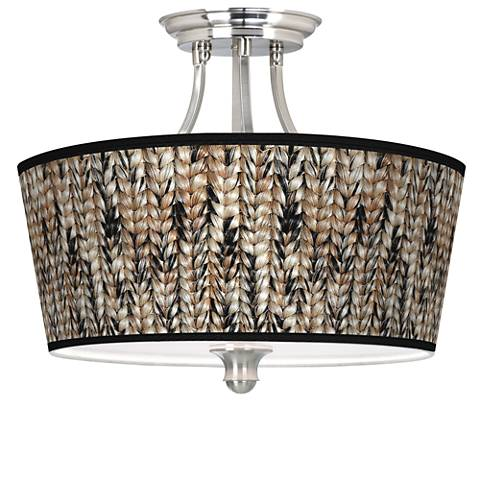 Braided Jute Tapered Drum Giclee Ceiling Light
