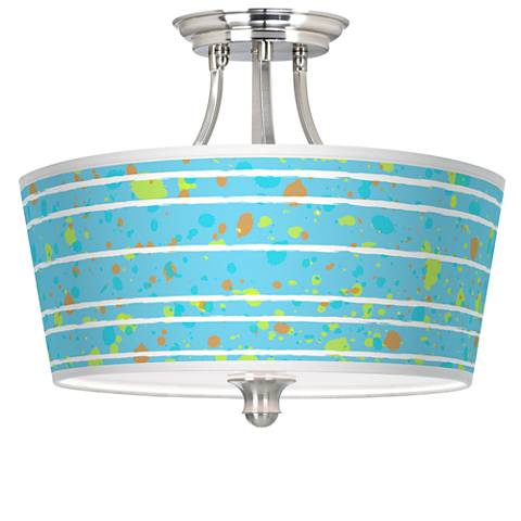 Paint Drips Tapered Drum Giclee Ceiling Light