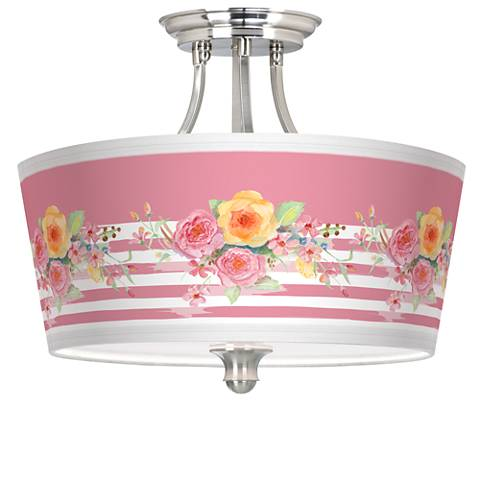 Country Rose Tapered Drum Giclee Ceiling Light