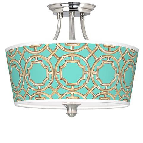 Teal Bamboo Trellis Tapered Drum Giclee Ceiling Light