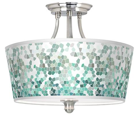 Aqua Mosaic Tapered Drum Giclee Ceiling Light