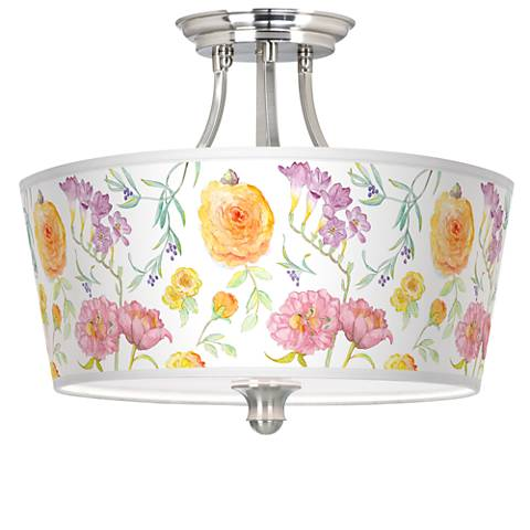 Spring Garden Tapered Drum Giclee Ceiling Light