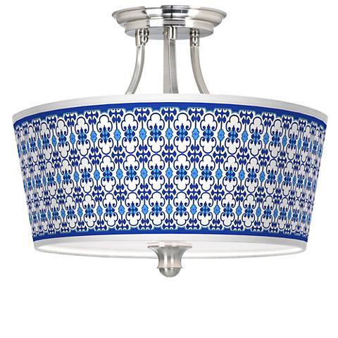 Indigo Path Tapered Drum Giclee Ceiling Light