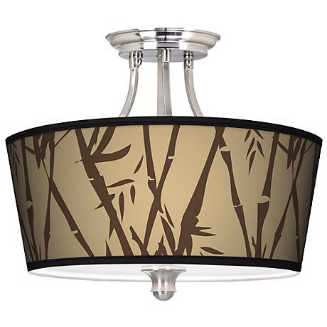 Earth Bamboo Tapered Drum Giclee Ceiling Light