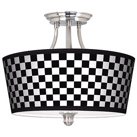 Checkered Black Tapered Drum Giclee Ceiling Light