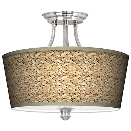 Seagrass Tapered Drum Giclee Ceiling Light