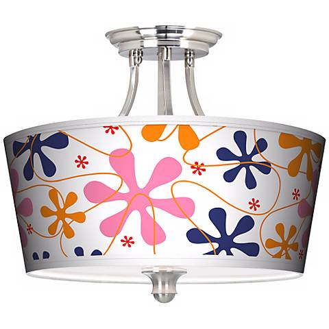 Retro Pink Tapered Drum Giclee Ceiling Light