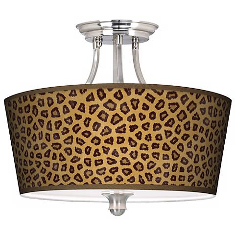 Safari Cheetah Tapered Drum Giclee Ceiling Light