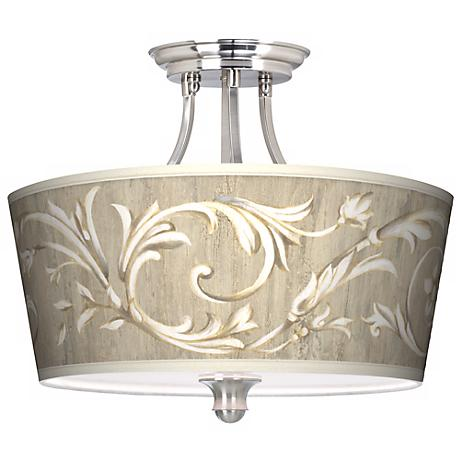 """Laurel Court Tapered Drum Shade 18"""" Wide Ceiling Light"""