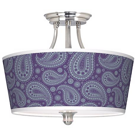Purple Paisley Linen Tapered Drum Giclee Ceiling Light