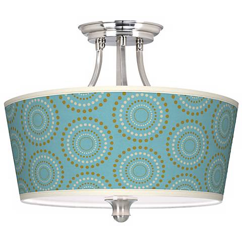 Blue Calliope Linen Tapered Drum Giclee Ceiling Light