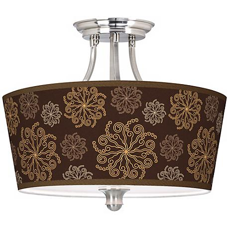 """Chocolate Blossom Linen Tapered Drum 18"""" Wide Ceiling Light"""