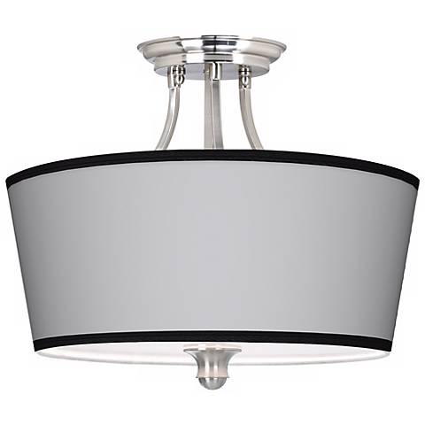 """All Silver Giclee Shade 18"""" Wide Ceiling Light"""