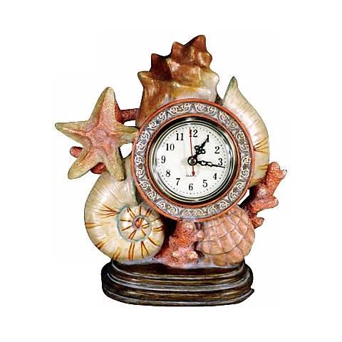 """Sea Shell 9"""" Wide Desk Clock"""