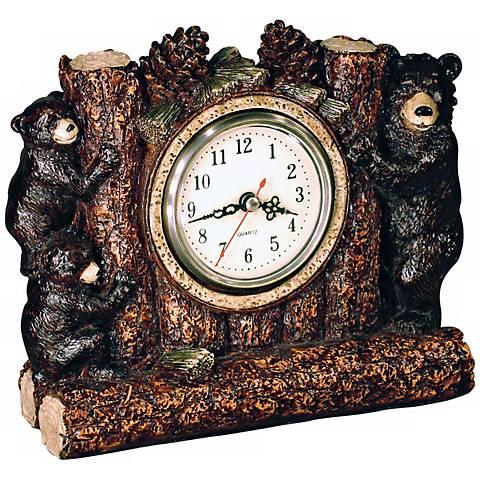 "Bear Family 8 1/2"" Wide Desk Clock"