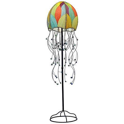 "Eangee Jellyfish Multicolor Cocoa Leaves 64"" High Floor Lamp"