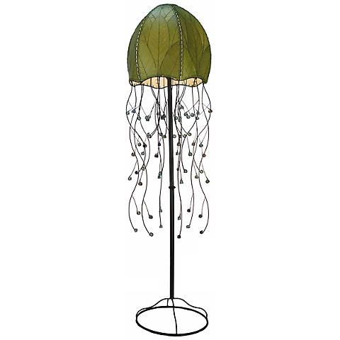 "Eangee Jellyfish Green Cocoa Leaves 64"" High Floor Lamp"