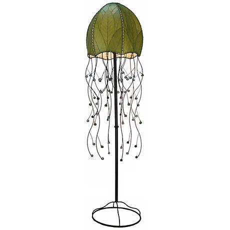 "Eangee Jellyfish Green Cocoa Leaves 64"" High Floor Lamp"