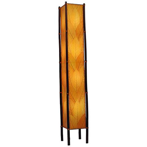 "Eangee Fortune Tower Orange Cocoa Leaves 72"" High Floor Lamp"