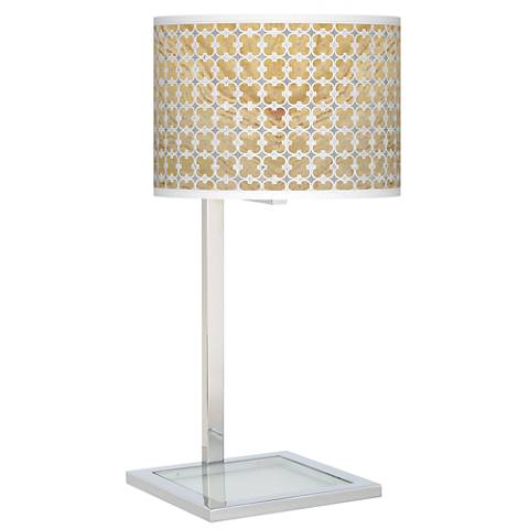 Marble Quatrefoil Glass Inset Table Lamp