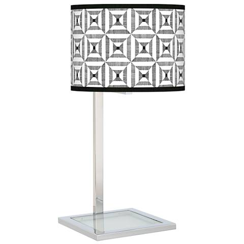 Tile Illusion Glass Inset Table Lamp