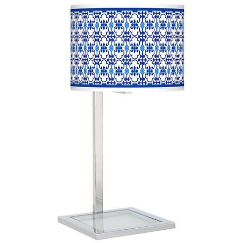 Indigo Path Glass Inset Table Lamp