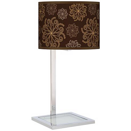 Chocolate Blossom Linen Glass Inset Giclee Table Lamp