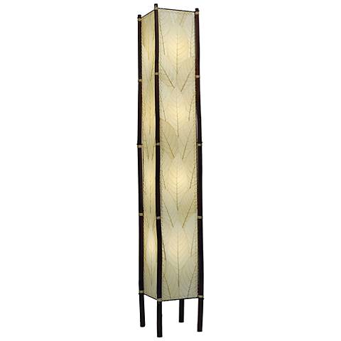 "Eangee Fortune Tower Natural Cocoa Leaves 72"" Floor Lamp"