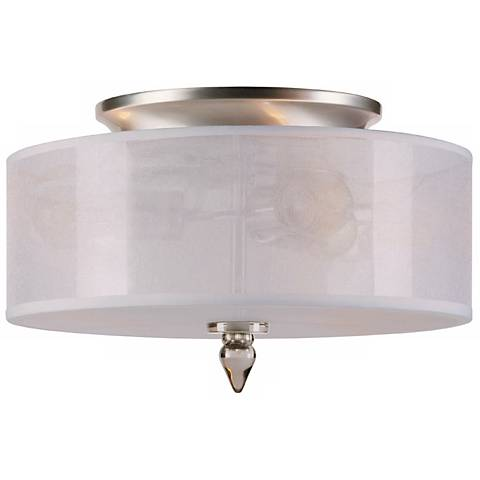 "Crystorama Luxo Satin Nickel 14"" Wide Ceiling Light"