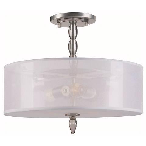 "Crystorama Luxo Satin Nickel 18"" Wide Ceiling Light"