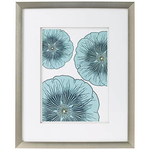 """Blue Flower Trio Giclee Print 21 1/2"""" High Wall Art"""