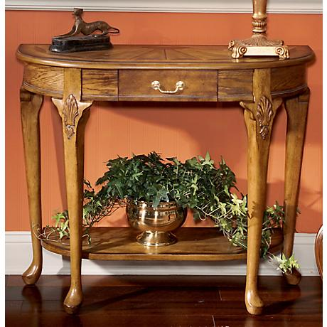 Masterpiece Collection Vintage Oak Finish Console Table