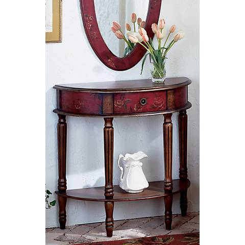 Artists Originals Collection Mahogany Demilune Console Table