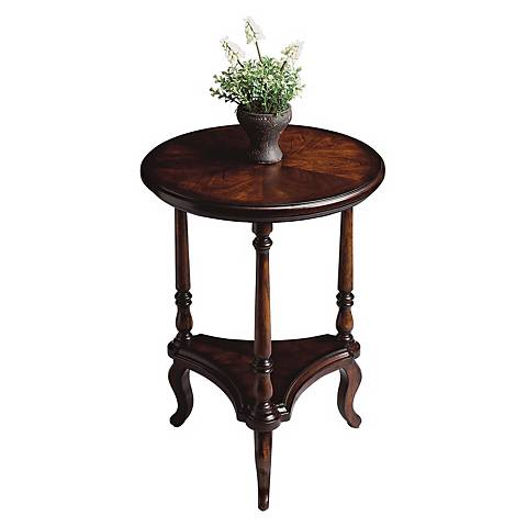 Plantation cherry collection 19 wide round accent table for Wide side table