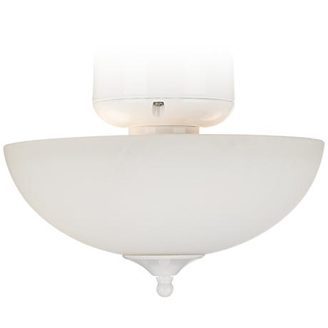 White Glass CFL White Finish Ceiling Fan Light Kit