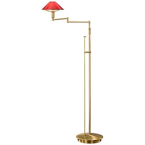 Antique Brass and Magma Red Swing Arm Holtkoetter Floor Lamp