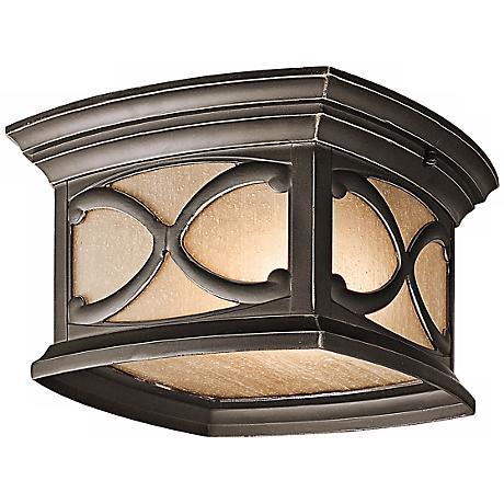 """Franceasi Olde Bronze 11"""" Wide Indoor-Outdoor Ceiling Light"""