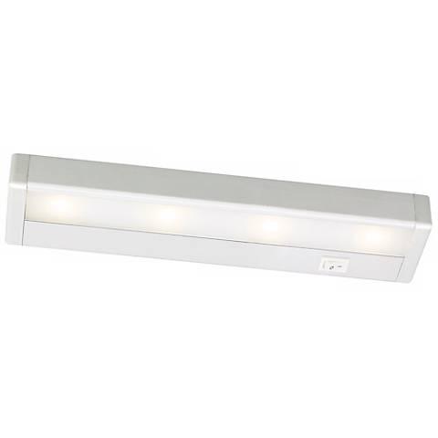 wac satin nickel led 12 wide under cabinet light bar m6769 lamps plus. Black Bedroom Furniture Sets. Home Design Ideas