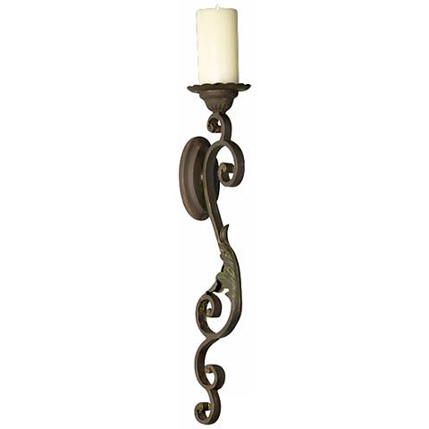 Valencia Iron Wall Sconce Pillar Candle Holder - #M7133 Lamps Plus